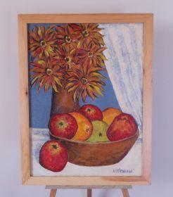 Zobrazit detail - Obraz Zátisí ovoce a kytka